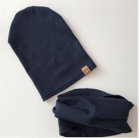 CAP+COWL NAVY BLUE STRPIES