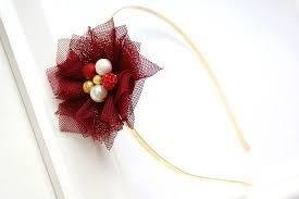 F BAND  TULLE FLOWER  MAROON  GOLD
